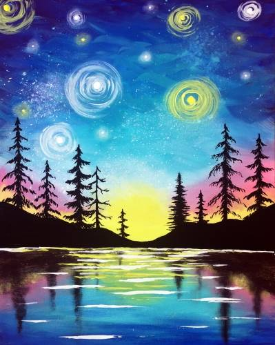 A Starry Lake Sunset paint nite project by Yaymaker
