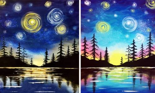 A Starry Lake Partner Painting paint nite project by Yaymaker