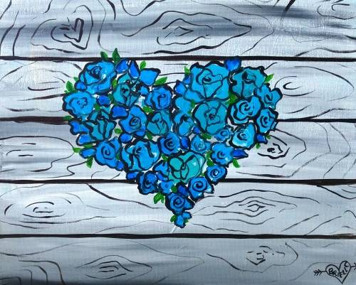 A Blue Rose Nature Heart paint nite project by Yaymaker