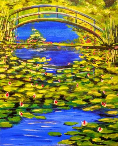A Bridge Over Lilies in a Pond paint nite project by Yaymaker