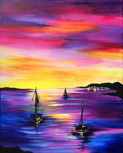 A Sunset Sailboat Silhouette paint nite project by Yaymaker