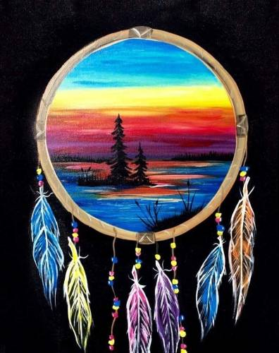 A Dream Catcher Lake paint nite project by Yaymaker