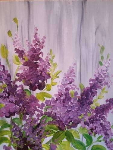A Lovely Lilacs paint nite project by Yaymaker