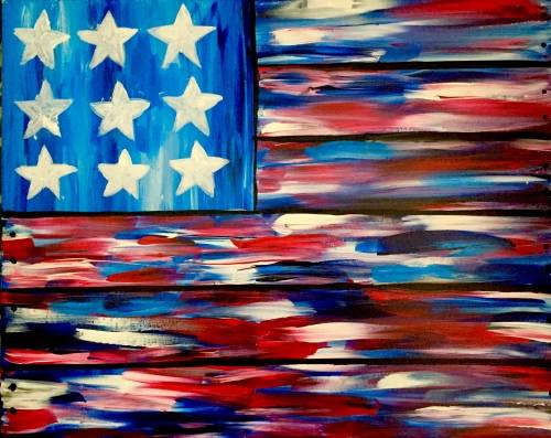 A American Flag Faux Wood Board paint nite project by Yaymaker