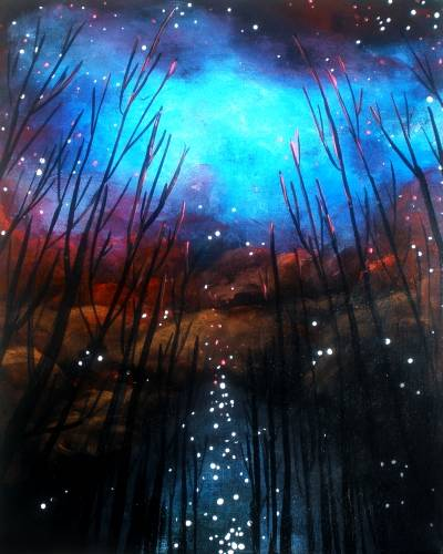 A Forest a Glow  Black Light paint nite project by Yaymaker