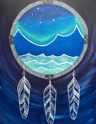 A Dream Catcher Mountains paint nite project by Yaymaker