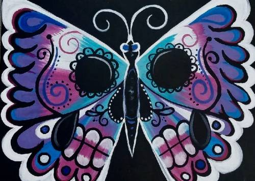 A Butterfly Skull paint nite project by Yaymaker
