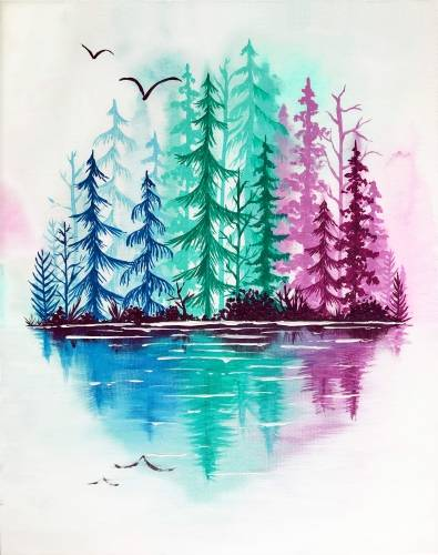 A Forest Mirage paint nite project by Yaymaker
