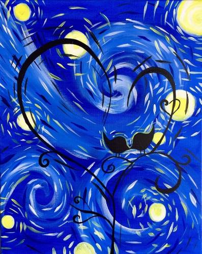 A Starry Starry Kissy Kissy paint nite project by Yaymaker