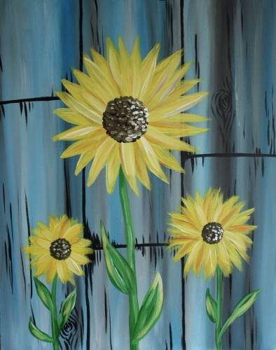 A Sunflower Stems paint nite project by Yaymaker