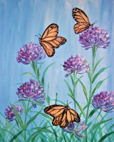A Monarchs and Milkweed paint nite project by Yaymaker