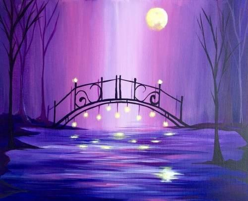 A Magical Moonlit Violet Bridge paint nite project by Yaymaker
