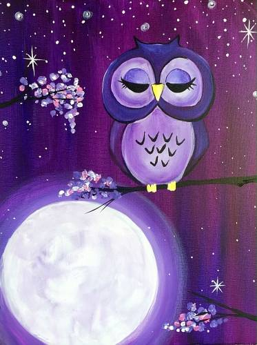 A Ze Owl On Ze Moon paint nite project by Yaymaker