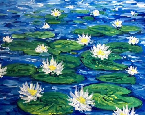 A Impressionist Lily Pond paint nite project by Yaymaker