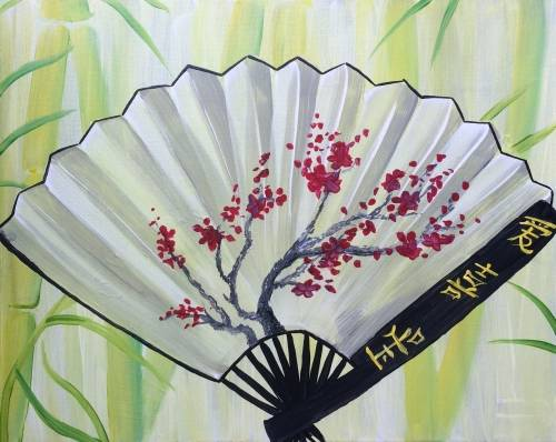A Cherry Blossom Fan paint nite project by Yaymaker