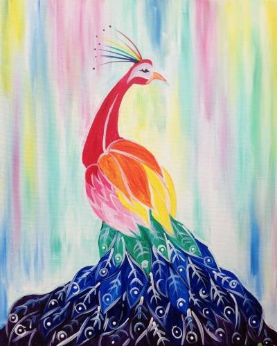 A Rainbow Peacock paint nite project by Yaymaker