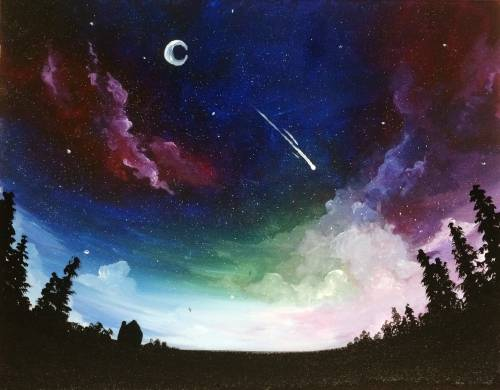A Fish Eye Galaxy Sky paint nite project by Yaymaker