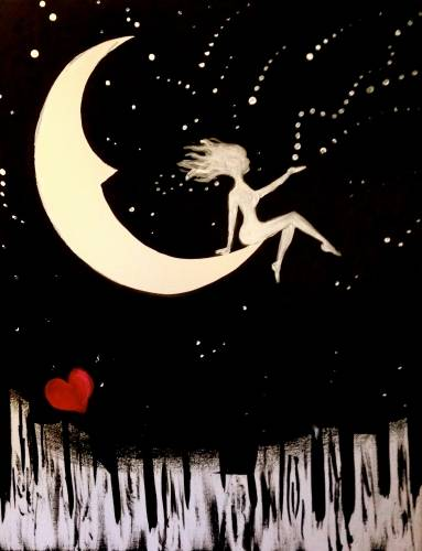 A I Love You To The Moon and Beyond paint nite project by Yaymaker