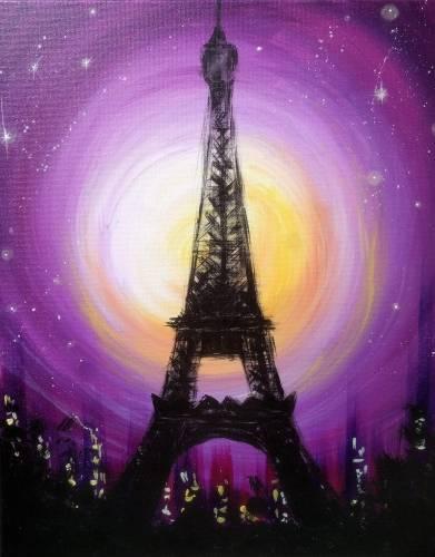 A Moonlit Paris paint nite project by Yaymaker