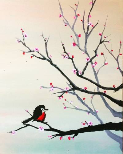A Bird Perched on Sakura Tree paint nite project by Yaymaker