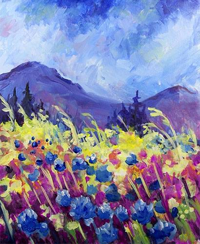 A Mountain Garden paint nite project by Yaymaker