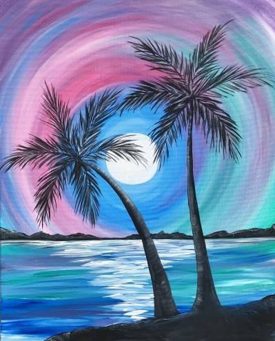 A Rainbow Palm Island paint nite project by Yaymaker
