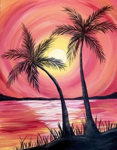 A Sunny Palm Island paint nite project by Yaymaker