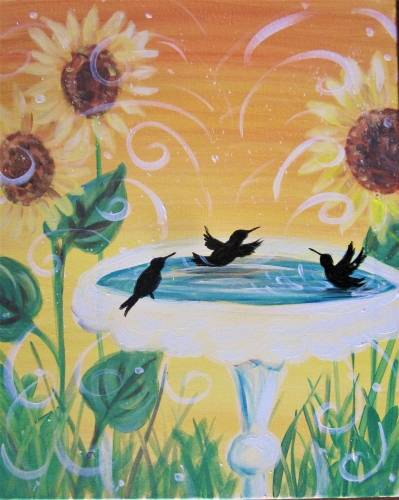 A Sunnyside Hummingbird Pool Party paint nite project by Yaymaker