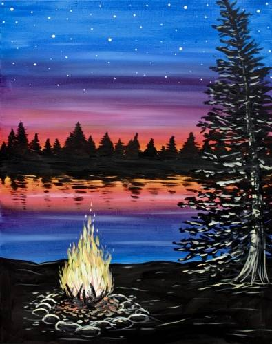 A Lakeside Campfire II paint nite project by Yaymaker