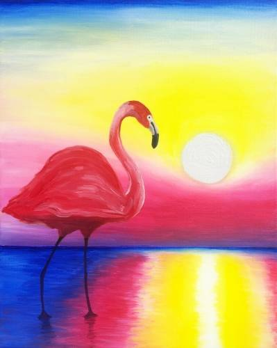 A Sunset Flamingo paint nite project by Yaymaker