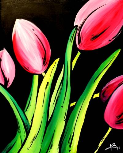 A Pink Tulips paint nite project by Yaymaker
