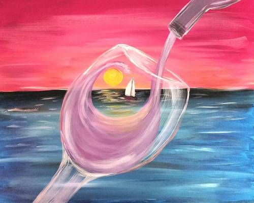 A Sunset and Wine paint nite project by Yaymaker