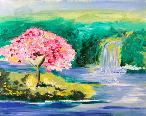 A Cherry Waterfall paint nite project by Yaymaker