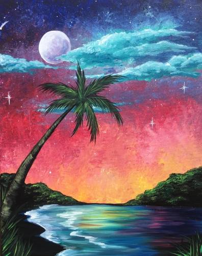 A Tropical Island Fantasy paint nite project by Yaymaker