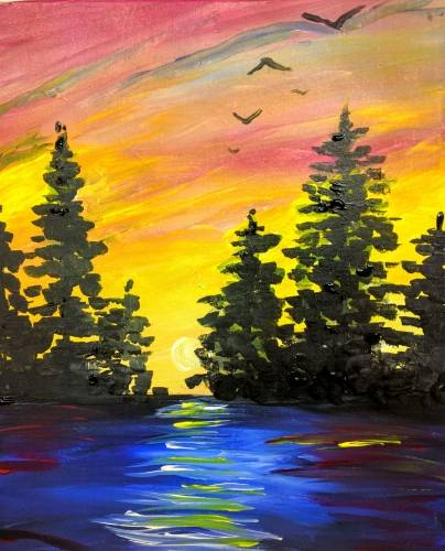 A Blue Water Yellow Sky and Trees paint nite project by Yaymaker