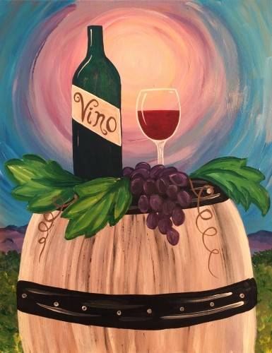 A Wine Barrel paint nite project by Yaymaker