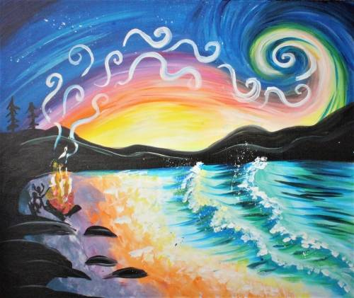 A Sunset Campfire Swirl paint nite project by Yaymaker
