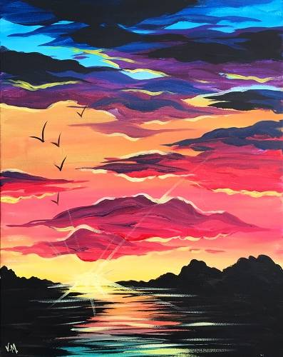 A Our Sunset by the Lake paint nite project by Yaymaker