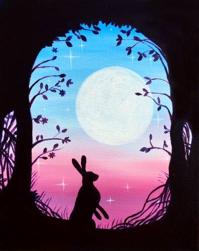 A The Rabbit and the Moon paint nite project by Yaymaker