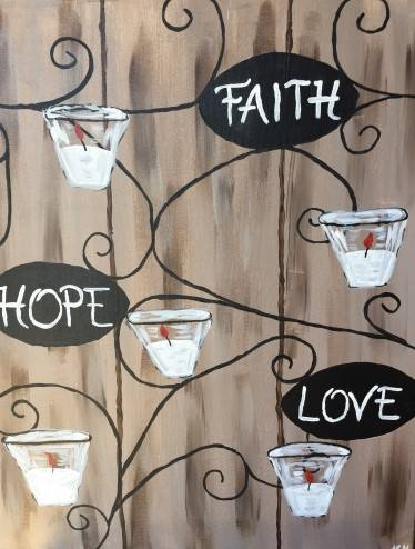 A Love Hope  Faith paint nite project by Yaymaker
