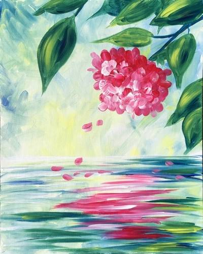A Hydrangea Reflection paint nite project by Yaymaker