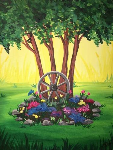 A Cottage Wagon Wheel Garden paint nite project by Yaymaker