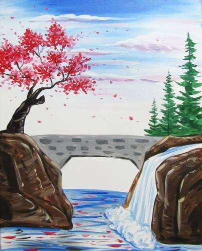 A Countryside Bridge Scene paint nite project by Yaymaker