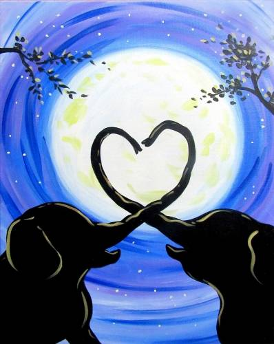 A Moonlight Elephant Love paint nite project by Yaymaker