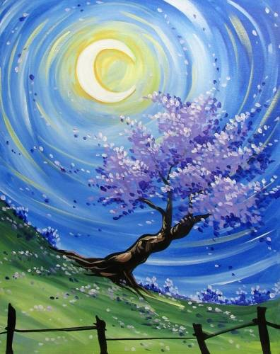 A Nocturnal Purple Blossom paint nite project by Yaymaker