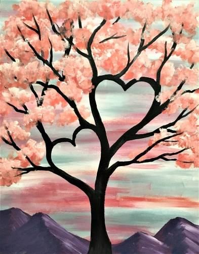 A Heart Tree in the Mountains paint nite project by Yaymaker