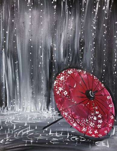 A Raindrops on Japanese Umbrella paint nite project by Yaymaker