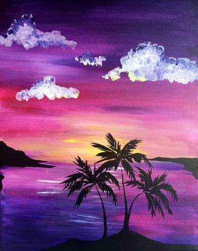 A Palm Tree On tha Sunset Scene paint nite project by Yaymaker