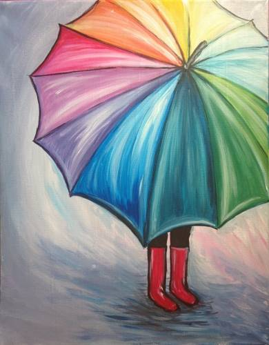 A Colourful Umbrella paint nite project by Yaymaker