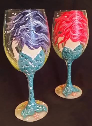 A Mermaid Wine Glasses paint nite project by Yaymaker